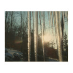 Sunrise Through Icicles Winter Photography Wood Print