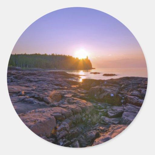 Sunrise Through Split Rock Round Sticker