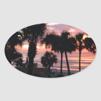 Sunrise through the Palm Trees Oval Sticker