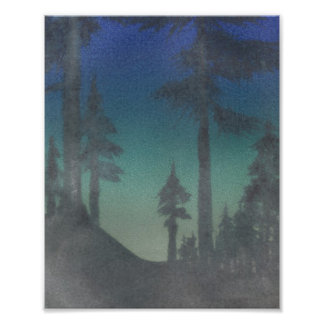 Sunrise Through the Trees Sierra Mountains Art Photographic Print