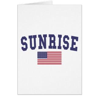 Sunrise US Flag Card