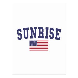 Sunrise US Flag Postcard