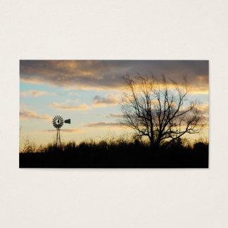 Sunrise Windmill Tree-lined Farm Silhouette Business Card