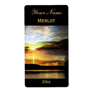 Sunrise wine label shipping label