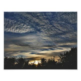 Sunrise With Cirrocumulus Floccus Clouds Photo Print