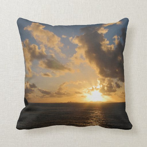 Sunrise With Clouds St. Martin Throw Pillows