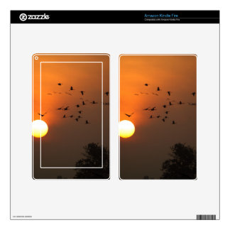 Sunrise with flocks of flying cranes kindle fire decals