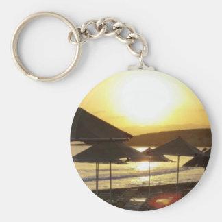 Sunrise with Greece Beach Keychain