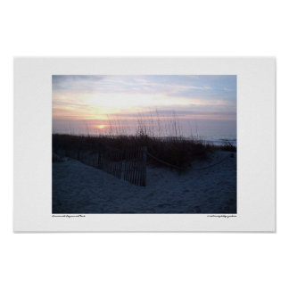 Sunrise with Seagrass and Fence Poster