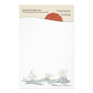 Sunrise with water splash letterhead custom stationery