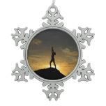 Sunrise Yoga Snowflake Pewter Christmas Ornament