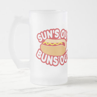 Suns Out Buns Out Frosted Glass Beer Mug