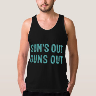Suns Out Guns Out Sky Tank Tops
