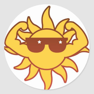 Sun's Out Guns Out Round Stickers