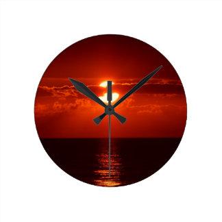 sunset-205717 sunset, cloud, clouds, sky, red, clo round wallclocks