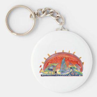 Sunset 2 over Cannes, customizable Basic Round Button Keychain