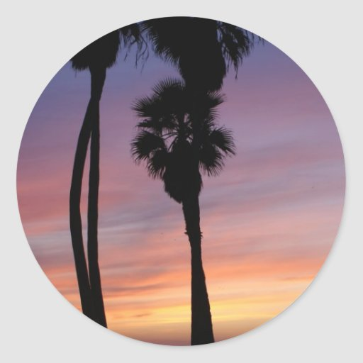 sunset 3 classic round sticker