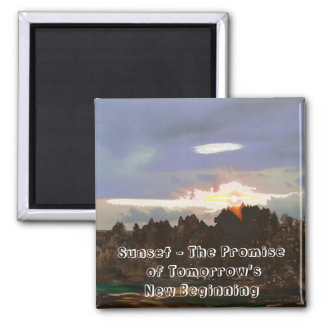 Sunset - a New Beginning - Digital Abstract Design 2 Inch Square Magnet