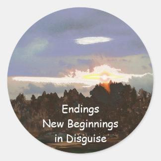 Sunset - a New Beginning - Digital Abstract Design Classic Round Sticker