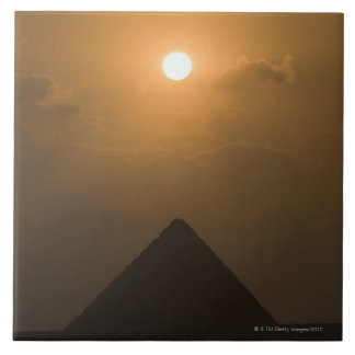 Sunset above The Great Pyramid Large Square Tile