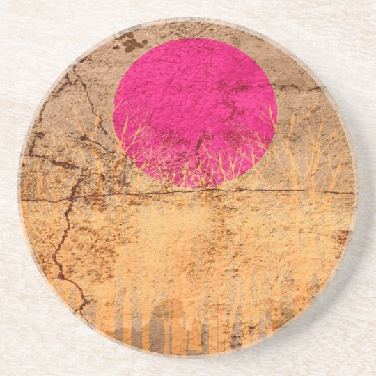 Sunset | Abstract Painting 4 Sandstone Coaster
