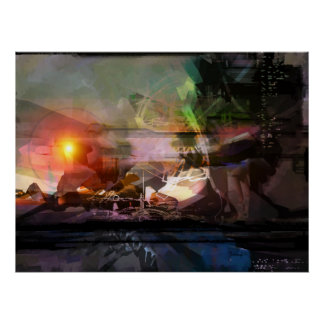 Sunset - abstract print poster