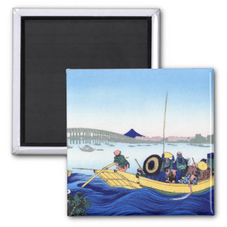 Sunset across the Ryogoku bridge from the bank 2 Inch Square Magnet