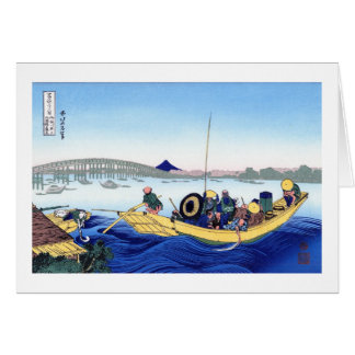 Sunset across the Ryogoku bridge from the bank Stationery Note Card