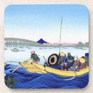 Sunset across the Ryogoku bridge from the bank Coaster