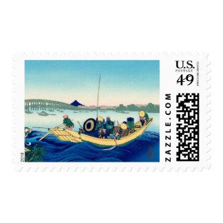 Sunset across the Ryōgoku bridge Postage Stamp