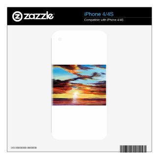 Sunset Acrylic Painting Decal For The iPhone 4