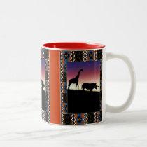 Sunset, african animals Two-Tone coffee mug
