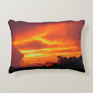 Sunset after the storm accent pillow