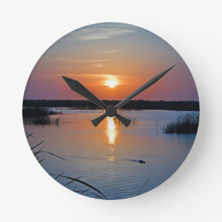 Sunset Alligator Round Clock