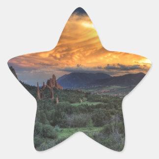 Sunset along Garden Path Star Sticker
