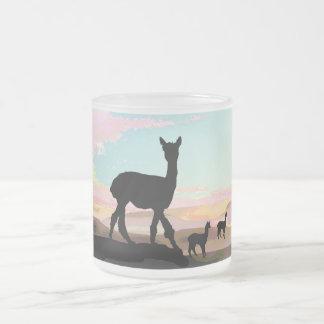 Sunset Alpacas Frosted Glass Coffee Mug