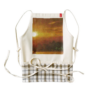 Sunset and a lake zazzle HEART apron