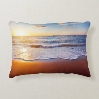 Sunset and beach accent pillow