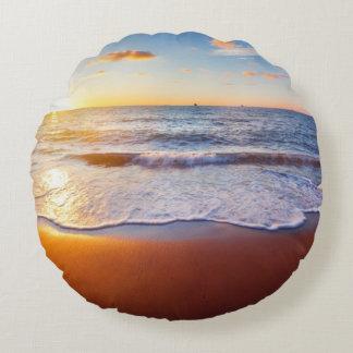 Sunset and beach round pillow