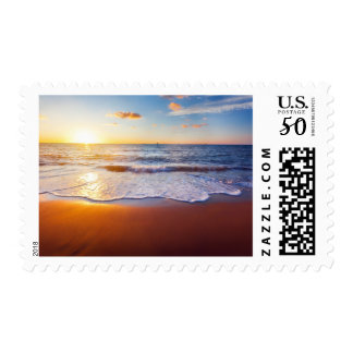 Sunset and beach postage