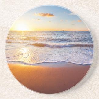 Sunset and beach sandstone coaster