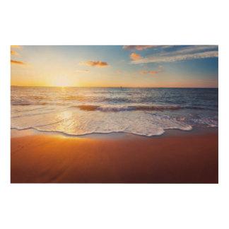Sunset and beach wood wall art