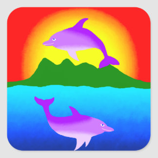 Sunset and Dolphins ipad case Square Sticker