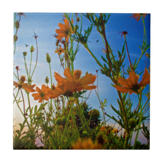 Sunset and Flowers Tile
