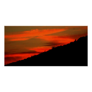Sunset  and Hill Poster