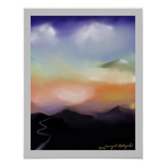 sunset and hills print