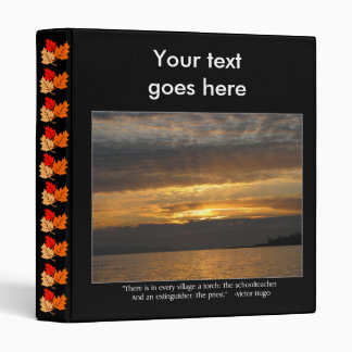 Sunset and Hugo Quote 3 Ring Binder