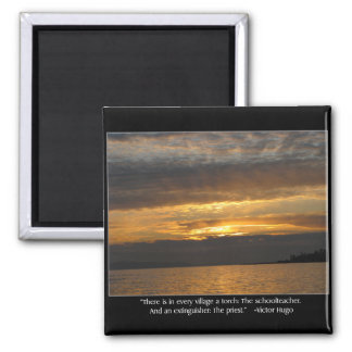 Sunset and Hugo Quote 2 Inch Square Magnet