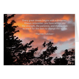 Sunset and Inspirational Quote by Harriet Tubman Card