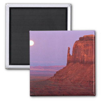 Sunset and moonrise at Mitten Butte, Monument Vall 2 Inch Square Magnet